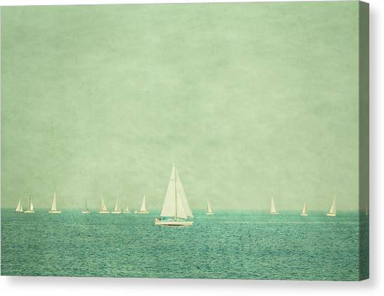 Sailboats In Pastel Canvas Print by Erin Cadigan