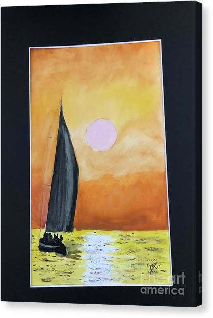 Canvas Print featuring the painting Sailing by Donald Paczynski