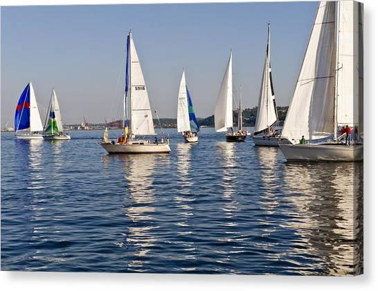 Sailing On Elliott Bay Canvas Print by Tom Dowd