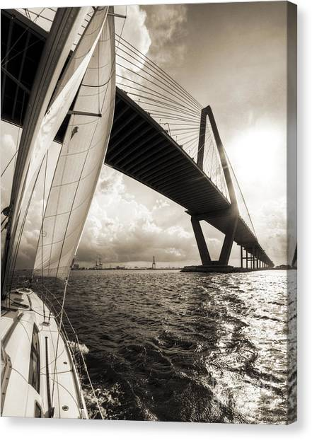 Sailing On The Charleston Harbor Beneteau Sailboat Canvas Print