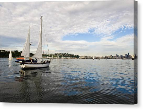 Sailing To Seattle Canvas Print by Tom Dowd