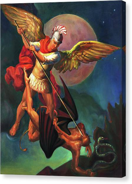 War Canvas Print - Saint Michael The Warrior Archangel by Svitozar Nenyuk