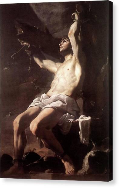 Saint Sebastian By Mattia Preti Canvas Print