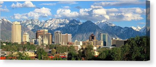 Real Salt Lake Canvas Print - Salt Lake City Utah Skyline by Douglas Pulsipher