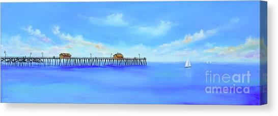 Canvas Print featuring the painting San Clemente Pier by Mary Scott