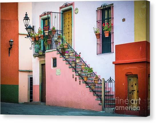 Guanajuato Canvas Print - San Roque Stairs by Inge Johnsson