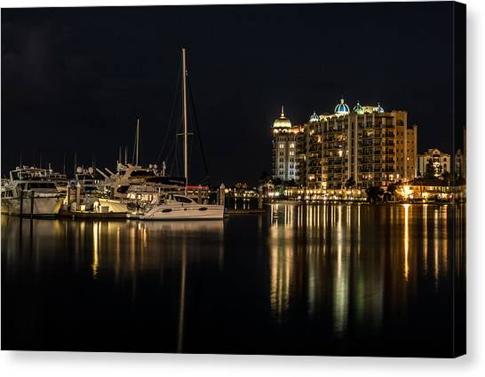 Canvas Print featuring the photograph Sarasota Bay After Dark by Claudia Abbott