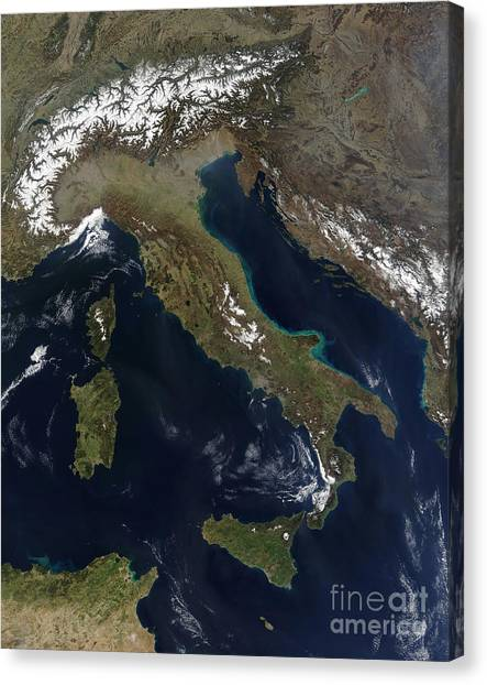 Mount Etna Canvas Print - Satellite View Of Italy by Stocktrek Images