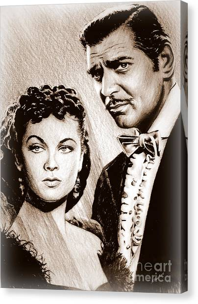 Gone With The Wind Canvas Print - Scarlett O Hara And Rhett Butler by Andrew Read