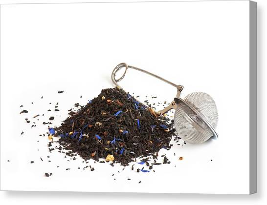 Tea Leaves Canvas Print - Scented Tea And Tea Ball by Dutourdumonde Photography