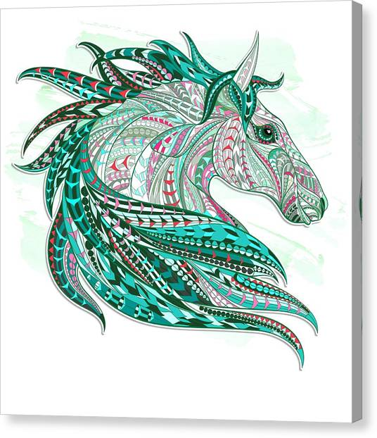 Sea Green Ethnic Horse Canvas Print