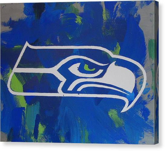 Canvas Print featuring the painting Seahawks Fan by Candace Shrope