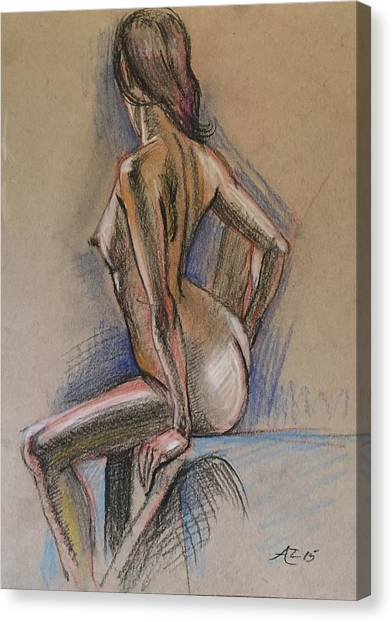 Seated Nude Canvas Print by Alejandro Lopez-Tasso