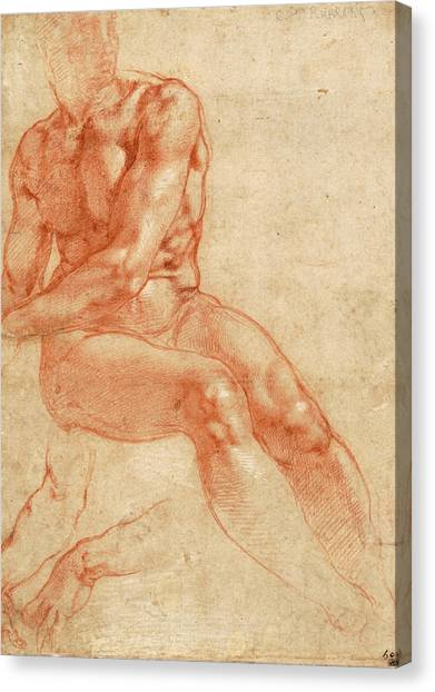 Michelangelo Simoni Canvas Print - Seated Young Male Nude And Two Arm Studies by Michelangelo Buonarroti