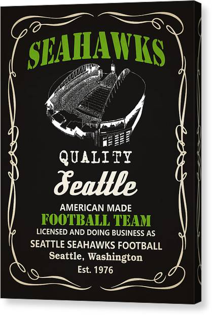 Seattle Seahawks Canvas Print - Seattle Seahawks Whiskey by Joe Hamilton