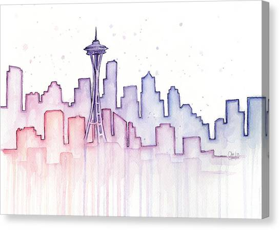 Seattle Skyline Canvas Print - Seattle Skyline Watercolor by Olga Shvartsur