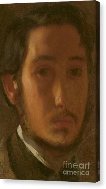 Edgar Degas Canvas Print - Self-portrait With White Collar by Edgar Degas