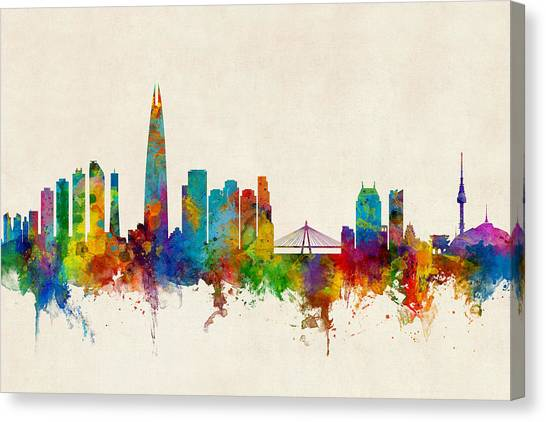 Korean Canvas Print - Seoul Skyline South Korea by Michael Tompsett