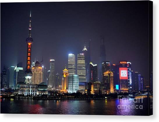 Shanghai China Skyline At Night From Bund Canvas Print