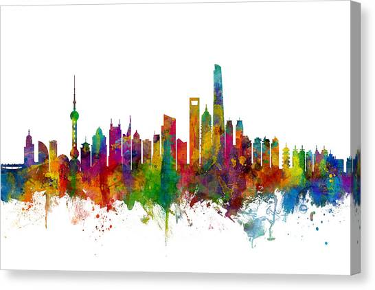 Shanghai Skyline Canvas Print - Shanghai China Skyline by Michael Tompsett