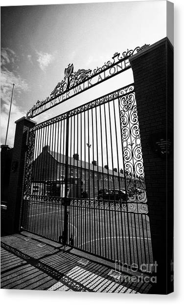 Liverpool Fc Canvas Print - Shankly Gates Anfield Stadium Liverpool England Uk by Joe Fox