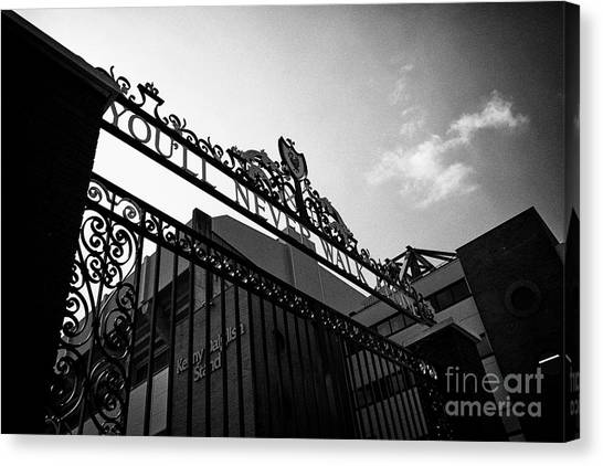 Liverpool Fc Canvas Print - Shankly Gates In Front Of The Kenny Daglish Stand At Anfield Stadium Liverpool England Uk by Joe Fox