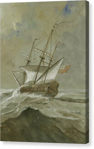Nautical Decor Canvas Print - Ship At The Storm by Juan Bosco