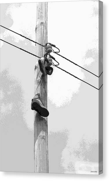 Canvas Print featuring the digital art Shoefiti 2160bw by Brian Gryphon