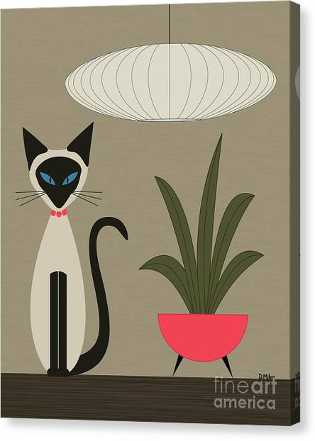 Siamese Cat On Tabletop Canvas Print
