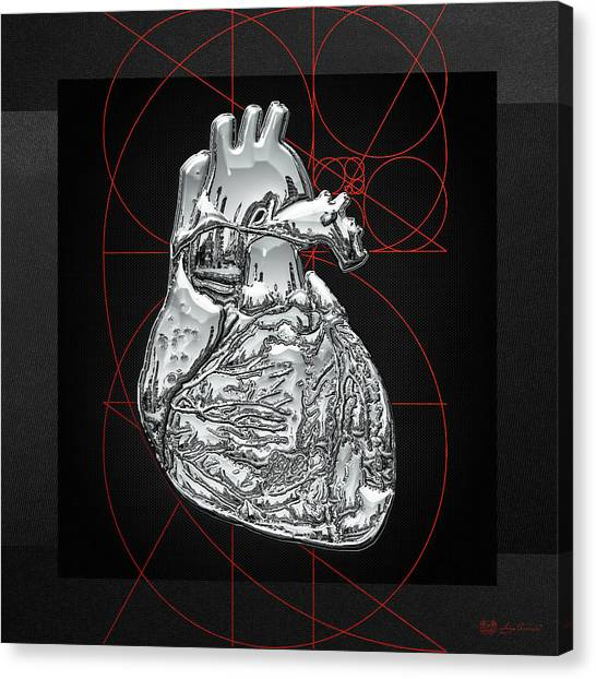 Pop Art Canvas Print - Silver Human Heart On Black Canvas by Serge Averbukh
