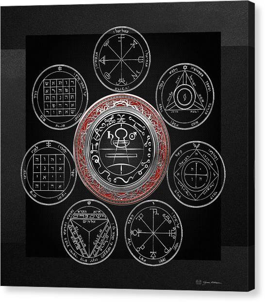 Spiritual Canvas Print - Silver Seal Of Solomon Over Seven Pentacles Of Saturn On Black Canvas  by Serge Averbukh