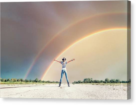 Rainbow Canvas Print - Sing Me A Rainbow by Evelina Kremsdorf