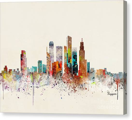 Singapore Skyline Canvas Print - Singapore Skyline by Bleu Bri