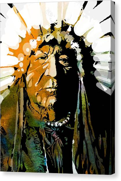 Native Americans Canvas Print - Sitting Bear by Paul Sachtleben