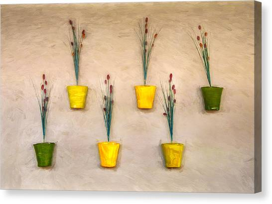 Six Flower Pots On The Wall Canvas Print