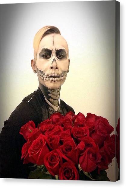 Iphone 6 Canvas Print - Skull Tux And Roses by Kent Chua