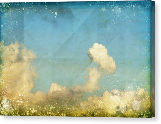 Border Wall Canvas Print - Sky And Cloud On Old Grunge Paper by Setsiri Silapasuwanchai