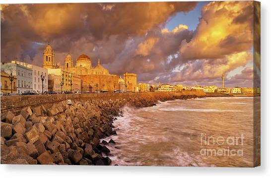 Skyline From Campo Del Sur Cadiz Spain Canvas Print