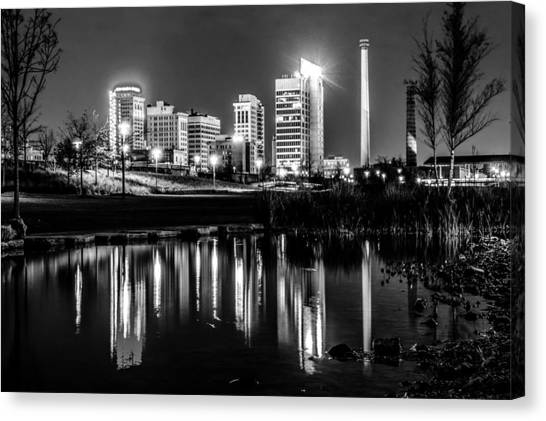 Birmingham cityscape canvas print skyline of birmingham alabama from railroad park by alex grichenko