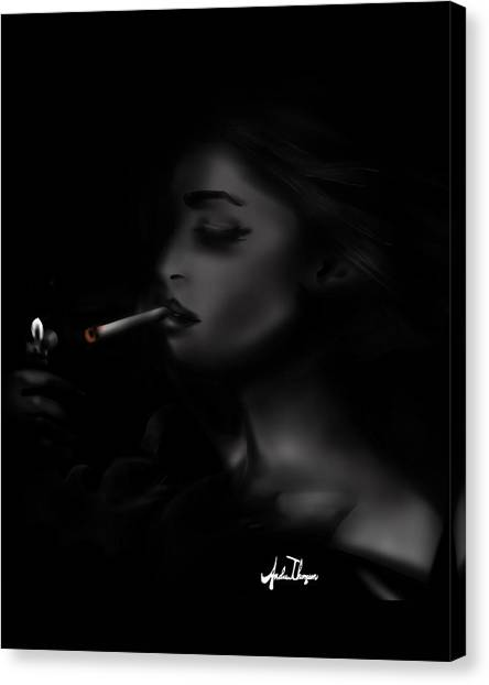 Smoking Girl  Canvas Print