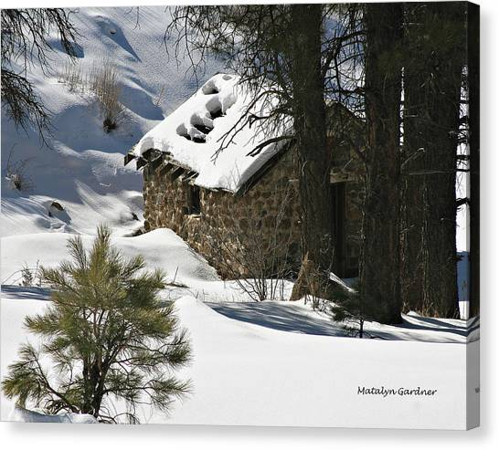 Snow Cabin Canvas Print