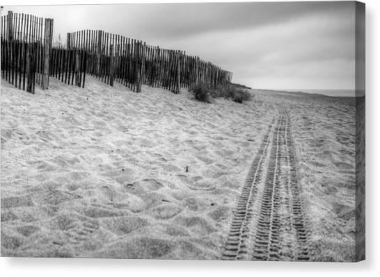 Snow Fence On The Beach Canvas Print