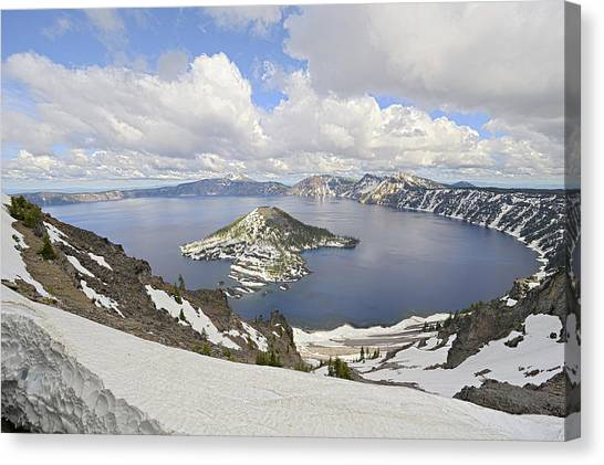 Snow On Crater Lake Hdr Canvas Print