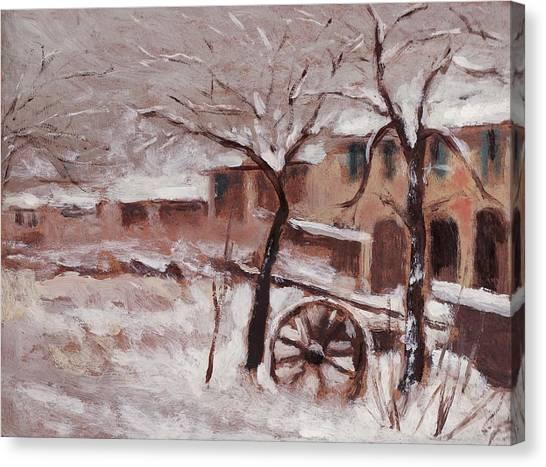 Snow On The Farmhouse Canvas Print by Mario Zampedroni