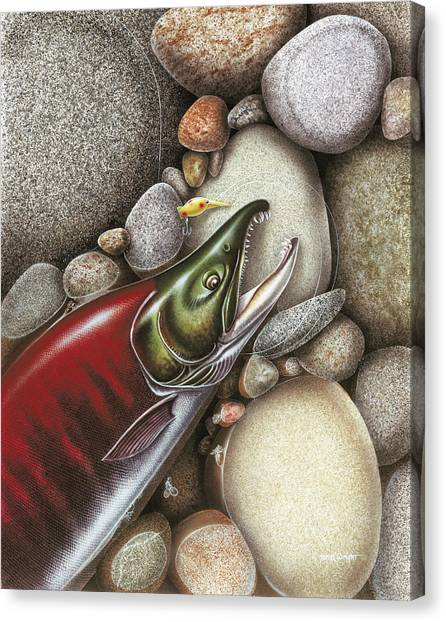 Angling Canvas Print - Sockeye Salmon by JQ Licensing