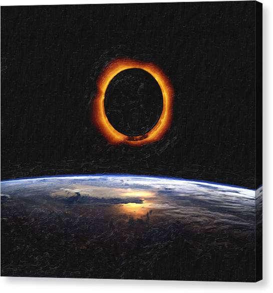 Asar Studios Canvas Print - Solar Eclipse From Above The Earth by Celestial Images