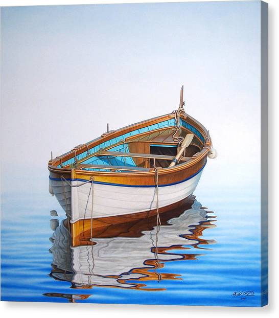 Fishing Boats Canvas Print - Solitary Boat On The Sea by Horacio Cardozo