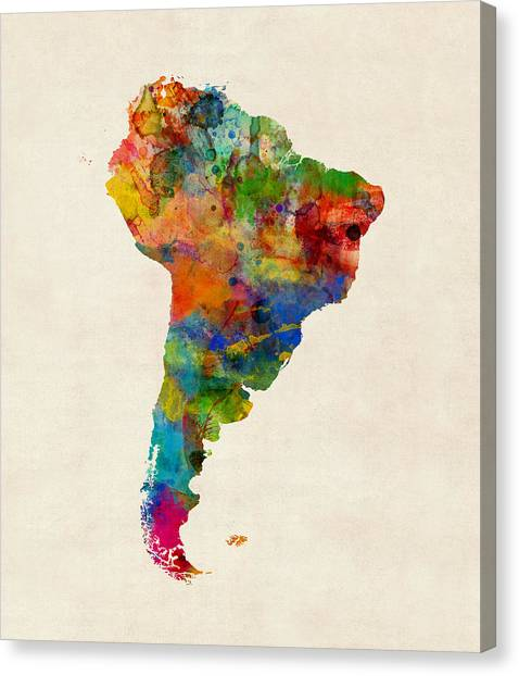Argentinian Canvas Print - South America Watercolor Map by Michael Tompsett