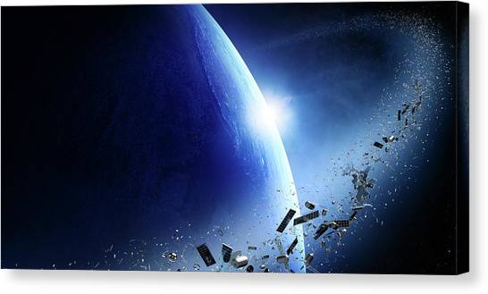Satellite Canvas Print - Space Junk Orbiting Earth by Johan Swanepoel