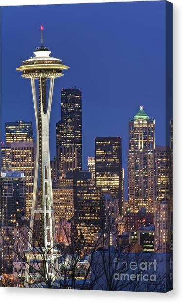 Architectural Detail Canvas Print - Space Needle And Downtown Seattle Skyline by Rob Tilley